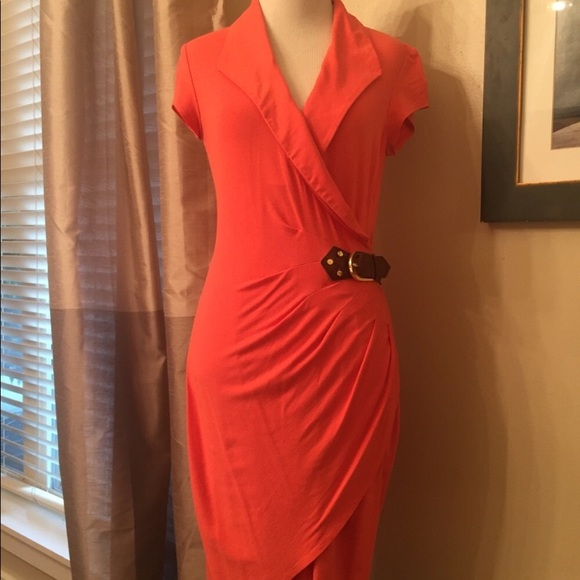 Cache Dresses & Skirts - Orange Cache wrap dress, size 4, leather belt